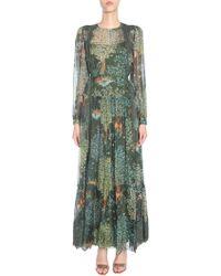 Alberta Ferretti - Long Silk Blend Dress With Lace Insert - Lyst