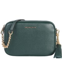 3a8e2066fafd Lyst - Michael Michael Kors Large Delfina Leather Saddle Bag in Green