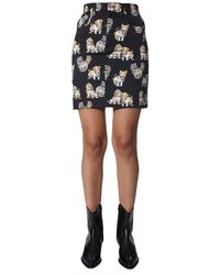 MSGM Cat Print Cotton Skirt - Black