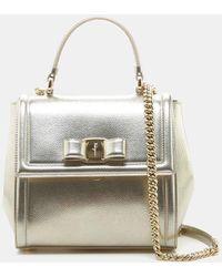 7e5cd77395 Ferragamo - Small Carrie Vara Bow Metallic Shoulder Bag - Lyst