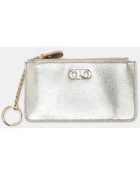 fed5c92d9a Ferragamo - Gancini Zipped Saffiano Leather Key Case With Card - Lyst