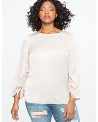 Eloquii - Ruched Sleeve Top - Lyst