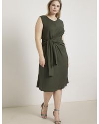 f7824b9a8b4 Simply Be Neon Rose V Neck Orange Midi Dress - Lyst