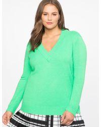 Eloquii - Dramatic Rib V-neck Sweater - Lyst