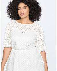 Eloquii - Boatneck Eyelet Dress With Piping - Lyst