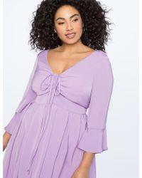 Eloquii - Flare Sleeve Dress With Halter Detail - Lyst