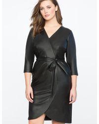 Eloquii - Faux Leather Wrap Dress - Lyst