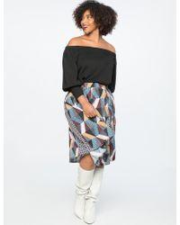 Eloquii - Print Block Midi Skirt With Godets - Lyst
