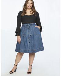 Eloquii - Denim Midi Skirt With Tie - Lyst