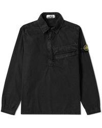 Stone Island - Tela Smerigliata Garment Dyed Popover Overshirt - Lyst