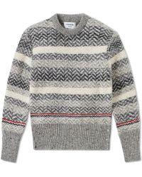 Thom Browne - Herringbone Stripe Crew Knit - Lyst