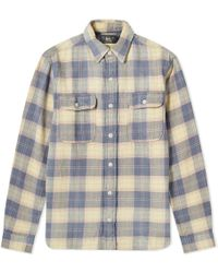 23faceb7 RRL Matlock Slim-fit Checked Cotton-twill Overshirt in Blue for Men ...