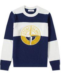 Stone Island - Wool Crew Neck Logo Stripe Jumper - Lyst