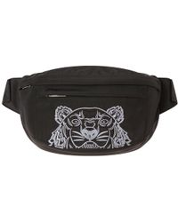 KENZO - Black Tiger-embroidered Canvas Belt Bag - Lyst