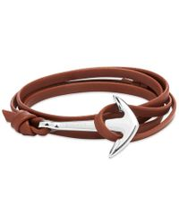 Miansai - Silver Anchor Leather Bracelet - Lyst