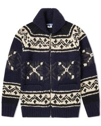 Junya Watanabe - Jacquard-knit Wool Zip-up Sweater - Lyst