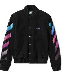 Off-White c/o Virgil Abloh - Logo-print Virgin Wool-blend Bomber Jacket - Lyst