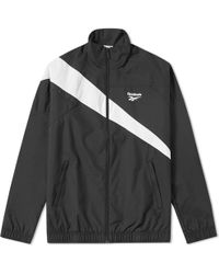 Lyst - Reebok Black And White Lf Track Jacket in Black for Men 17604521e