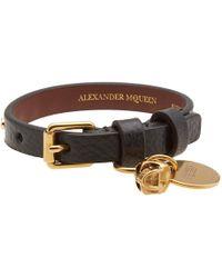Alexander McQueen - Studded Leather Skull Bracelet - Lyst