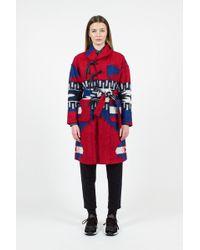 Engineered Garments Red/royal Knit Shawl Collar Jacket