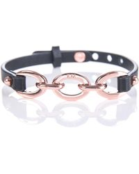 Karen Millen - Chain Link Leather Bracelet - Lyst