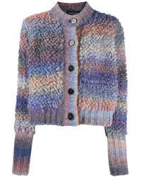 Roberto Collina Multi Textured Knit Cardigan - Gray