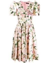 Dolce & Gabbana - Lily-print Midi Dress - Lyst