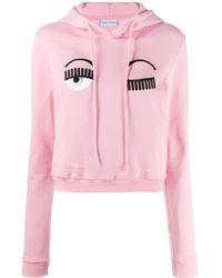 Chiara Ferragni Logo Embroidered Hoodie - Pink