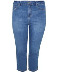 Evans - Side Piped Crop Jeans - Lyst