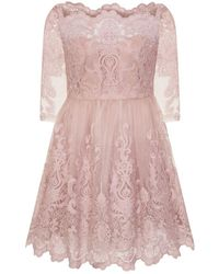 Evans - **chi Chi London Mink Baroque Style Skater Dress - Lyst