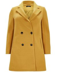Evans - Mustard Double Breasted Coat - Lyst