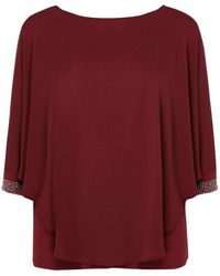 Evans - **grace Berry Red Overlay Tunic Top - Lyst