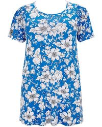 Evans - Blue Floral Print Swing Tunic - Lyst