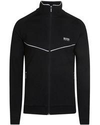 BOSS Black - Contrast Trim Zip-up Sweatshirt - Lyst
