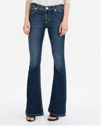 Express - Mid Rise Thick Stitch Bell Flare Jeans, - Lyst