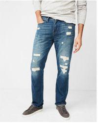 Express - Slim Straight Light Wash Destroyed 100% Cotton Jeans, Men's Size:w31 L34 - Lyst