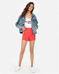 Express - High Waisted Sporty Side Stripe Cheeky Shorts - Lyst