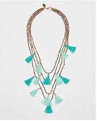 Express - Four Row Beaded Tassel Necklace - Lyst