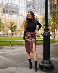 Express Negin Mirsalehi High Waisted Snakeskin Print Vegan Leather Pencil Skirt Neutral Print - Multicolour