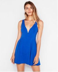Express - Petite V-wire Fit And Flare Skort Dress - Lyst