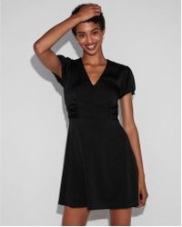 dffa69eb5920 Lyst - Express Lace-up Fit And Flare Dress in Black
