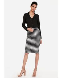 Express High Waisted Houndstooth Fitted Pencil Skirt Black And White