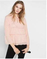 Express Floral Print High Neck Blouse In Pink Lyst