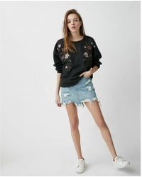Express - Petite One Eleven Floral Embroidered Sweatshirt - Lyst
