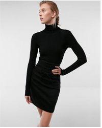 Express - High Waisted Corset Front Denim Mini Skirt - Lyst