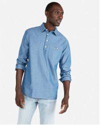 Express - Slim Dotted Long Sleeve Shirt - Lyst