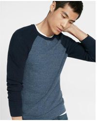Express - Textured Color Block Crew Neck Sweater - Lyst