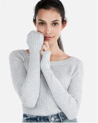 Express - Ribbed Bateau Neck Sweater - Lyst