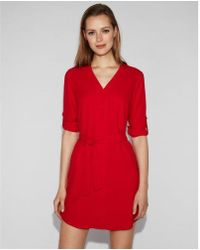 Express - Button Front Popover Shirt Dress - Lyst