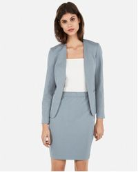 c30985abc Express Stretch Knit Ruched Pencil Skirt in Gray - Lyst